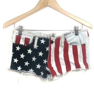 UNIF Flag Red white and Blue denim Cutoff Shorts